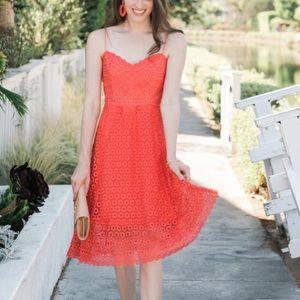 NEW J.Crew Orange DaisyLace Midi Cocktail Dress